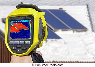 enregistrement, panneaux solaires, à, thermique, appareil photo