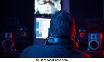 enregistrement, piste, -, homme, studio, ingénieurdu son,...