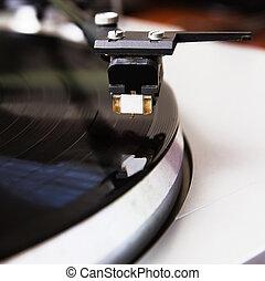 enregistrement, platine, musique, vinyle, jouer