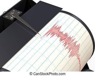 enregistrement, sismographe, mouvement, instrument, pendant...