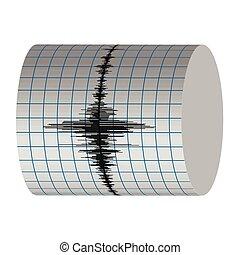 enregistrement, sismographe, tremblements terre, vibrations
