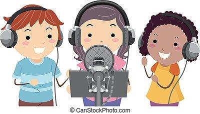 enregistrement, stickman, gosses, groupe, illustration