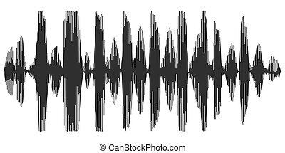 enregistrement, synthétiseur, spectrogram, vecteur, parole, vagues, acoustique, reverb, parole, icône