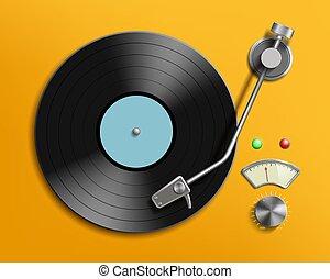enregistrement, vendange, joueur, disque, retro, vinyle