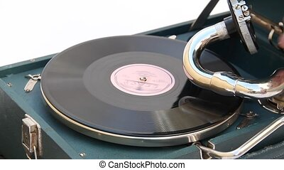enregistrement, vieux, jouer