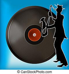 enregistrement, vinyle, fond