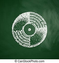enregistrement, vinyle, icône