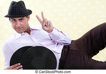 enregistrement, vinyle, tenue, homme