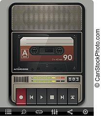 enregistreur, vecteur, cassette, gabarit