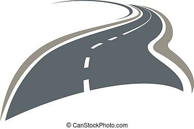 enrolamento, além, estrada, desaparecer, horizonte