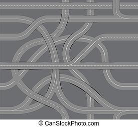 enrolamento, fundo, seamless, estrada