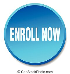 enroll now blue round flat isolated push button
