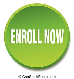 enroll now green round flat isolated push button