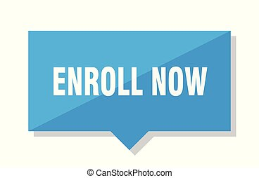 enroll now price tag - enroll now blue square price tag