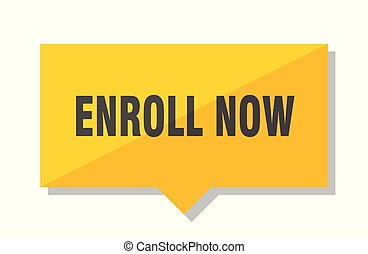 enroll now price tag - enroll now yellow square price tag