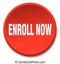 enroll now red round flat isolated push button