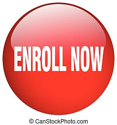 enroll now red round gel isolated push button