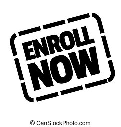 enroll now stamp on white