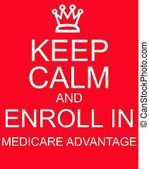enroll, ventaja, señal, medicare, calma, retener, rojo