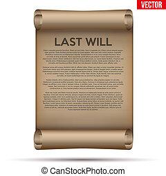 enrollado, viejo, voluntad, papel, testamento, último