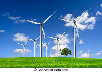 enrolle turbinas, granja, en, campo verde