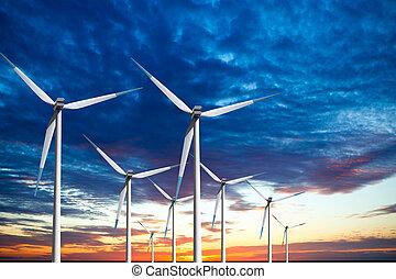 enrolle turbinas, granja, en, ocaso