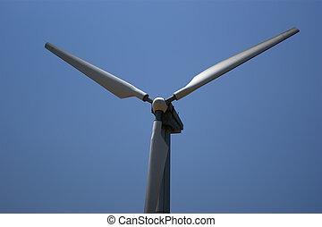 enrolle turbinas, granja, -, energía alternativa, fuente