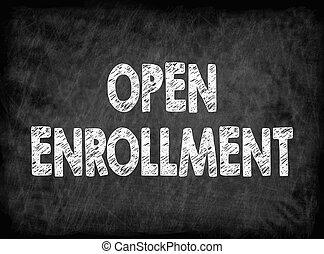 enrollment., ouvert, texture, arrière-plan noir, planche
