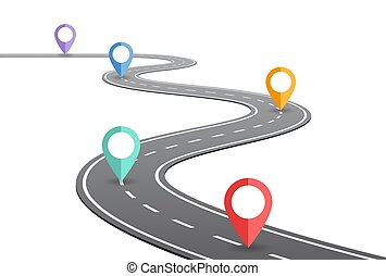 enroulement, concept, route, timeline