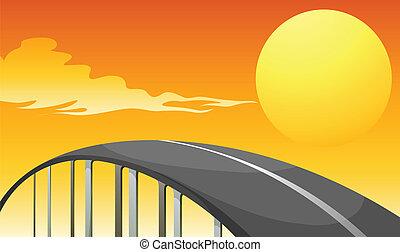 enroulement, coucher soleil, route