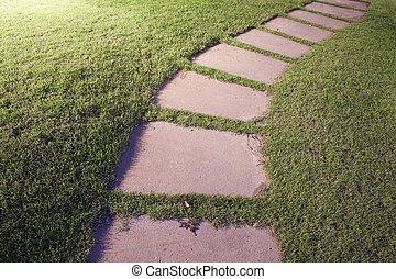 enroulement, jardin pierre, walkway