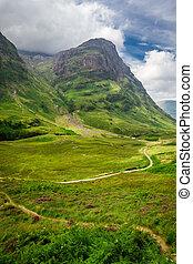enroulement, pays montagne, ecosse, sentier