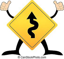 enroulement, vecteur, trafic, panneaux signalisations