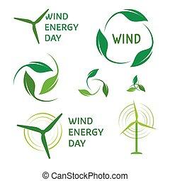 enroulez énergie, logos, set., vert, logo, collection.
