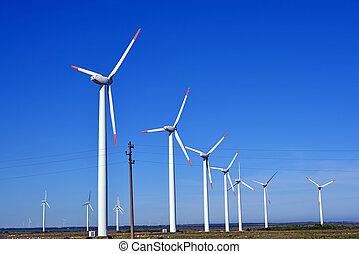 enroulez turbines, ferme, -, énergie alternative, source