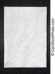 enrugado, branca, papel, ligado, escuro, madeira, fundo