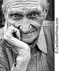 enrugado, homem sênior, antigas, rosto