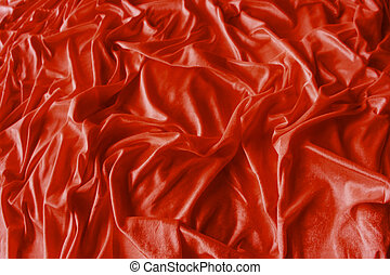 enrugado, tecido, vermelho