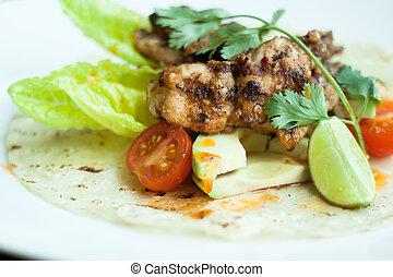 ensalada, con, pollo asado parrilla, blanco, placa