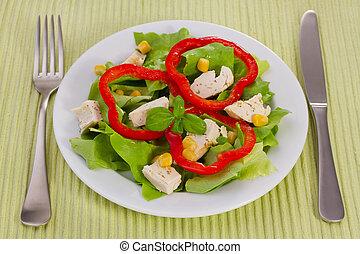 ensalada, con, pollo, en, el, placa blanca