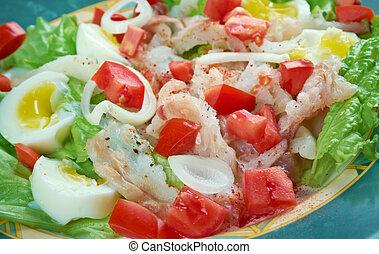 Ensalada de bacalao - salted cod salad. Traditional Catalan ...