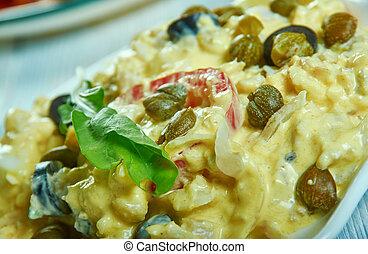 Ensalada de Bacalao - traditional catalan salted cod salad.