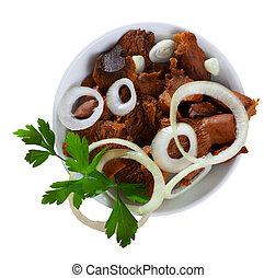 ensalada, perejil, rojo, pino, tazón, hongos, cebollas, conservado