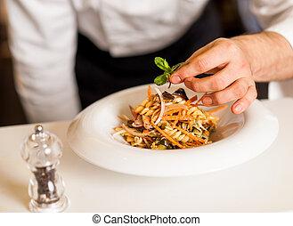 ensalada sale, chef, pastas, herbario, decorar