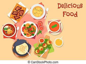 ensalada, sano, chocolate, sopa, fruta, icono
