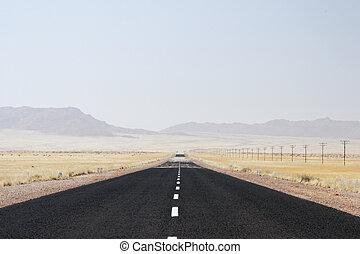 ensam, öken, väg, in, namibiaer, med, värma, hägring, över,...