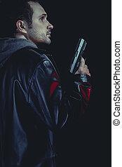 ensam, man, beväpnat, med, a, pistol, rånare