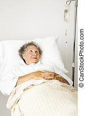 ensam, senior, in, sjukhus