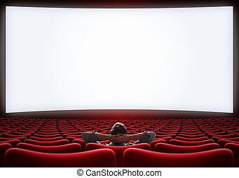 ensam, sittande, bio, illustration, storgubbe, man, sal, tom, 3