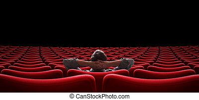 ensam, sittande, illustration, man, sal, tom, 3